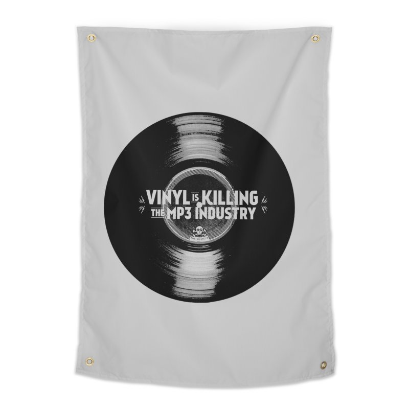 Vinyl is Killing the MP3 Industry (version 1) Home Tapestry by CRANK. outdoors + music lifestyle clothing