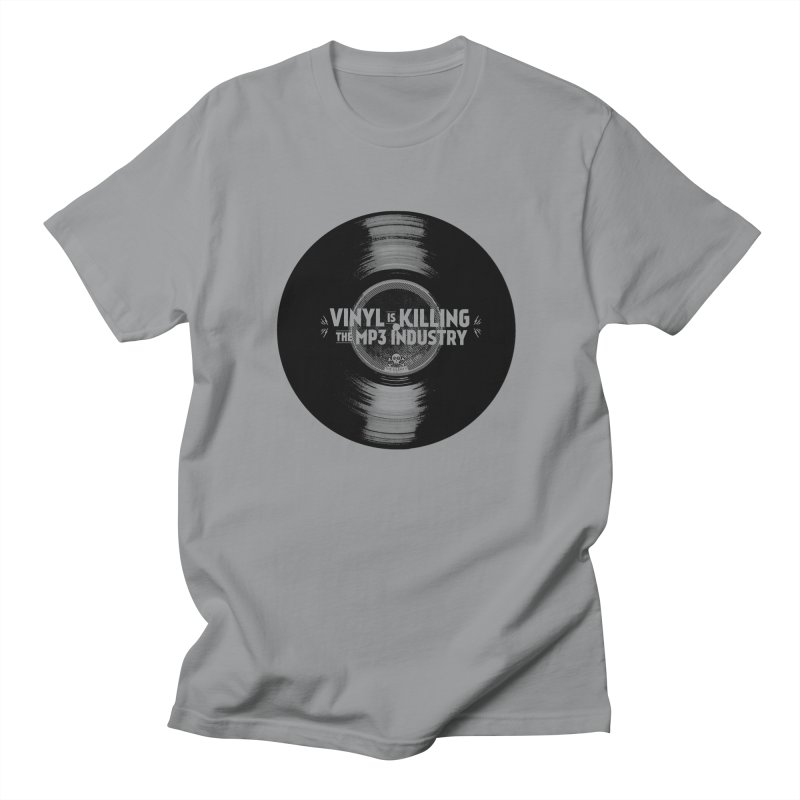 Vinyl is Killing the MP3 Industry (version 1) in Men's Regular T-Shirt Slate by CRANK. outdoors + music lifestyle clothing
