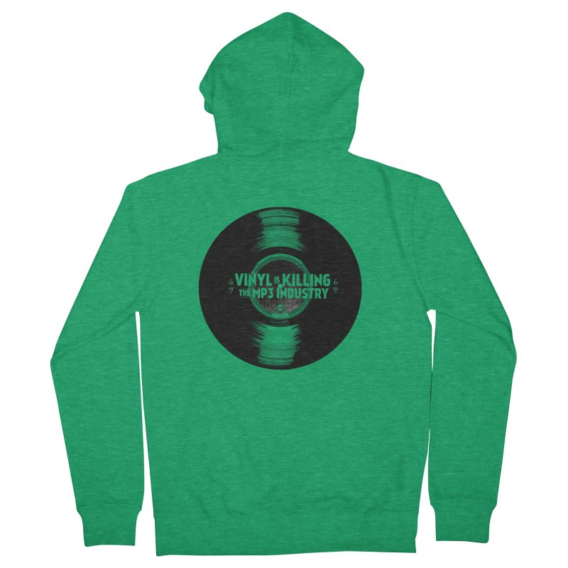 Vinyl is Killing the MP3 Industry (version 1) Men's Zip-Up Hoody by CRANK. outdoors + music lifestyle clothing
