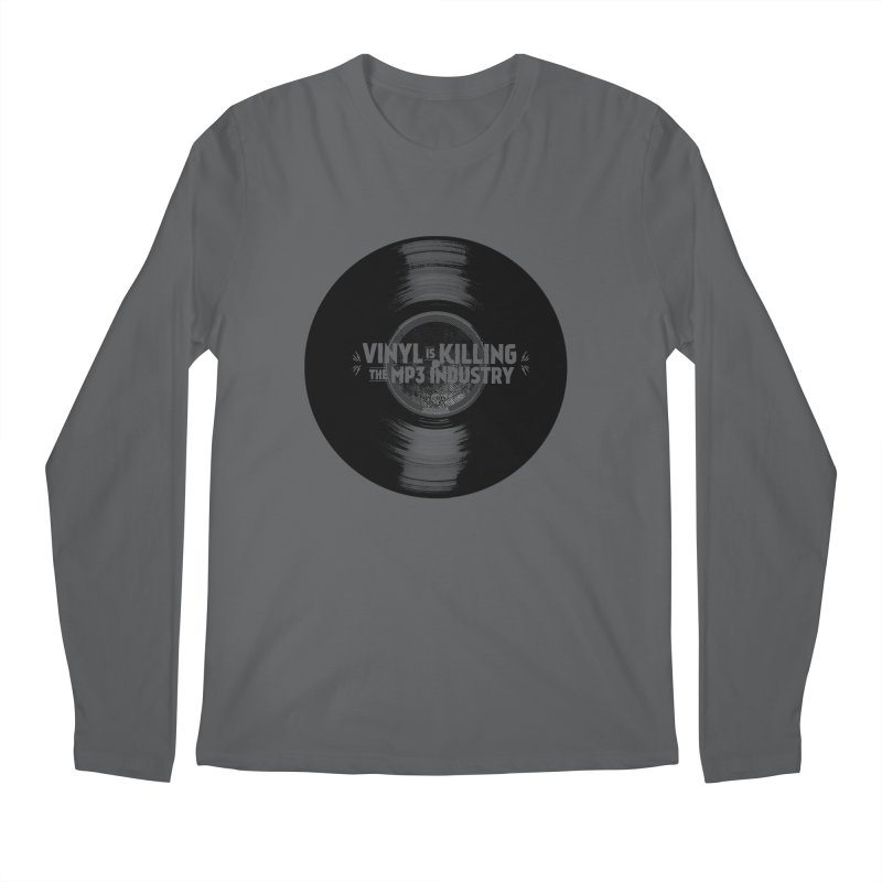 Vinyl is Killing the MP3 Industry (version 1) Men's Longsleeve T-Shirt by CRANK. outdoors + music lifestyle clothing