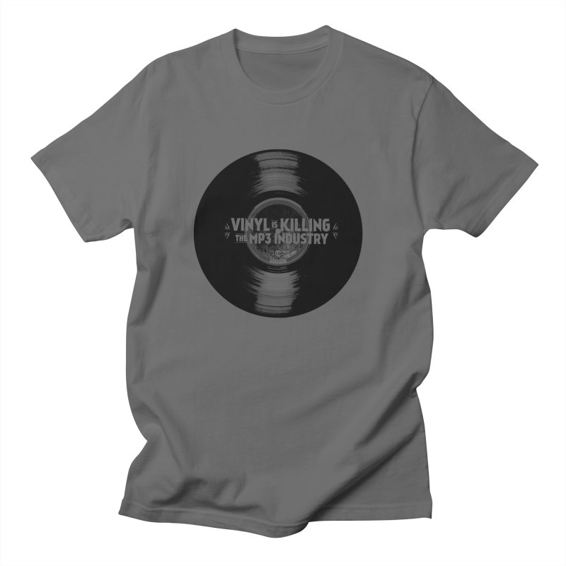 Vinyl is Killing the MP3 Industry (version 1) Men's T-Shirt by CRANK. outdoors + music lifestyle clothing