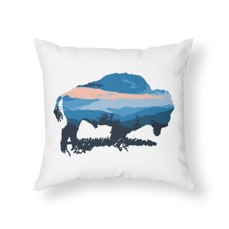 Bison Blue Ridge Home Throw Pillow by CRANK. outdoors + music lifestyle clothing