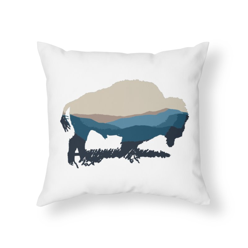 Bison Appalachian Home Throw Pillow by CRANK. outdoors + music lifestyle clothing