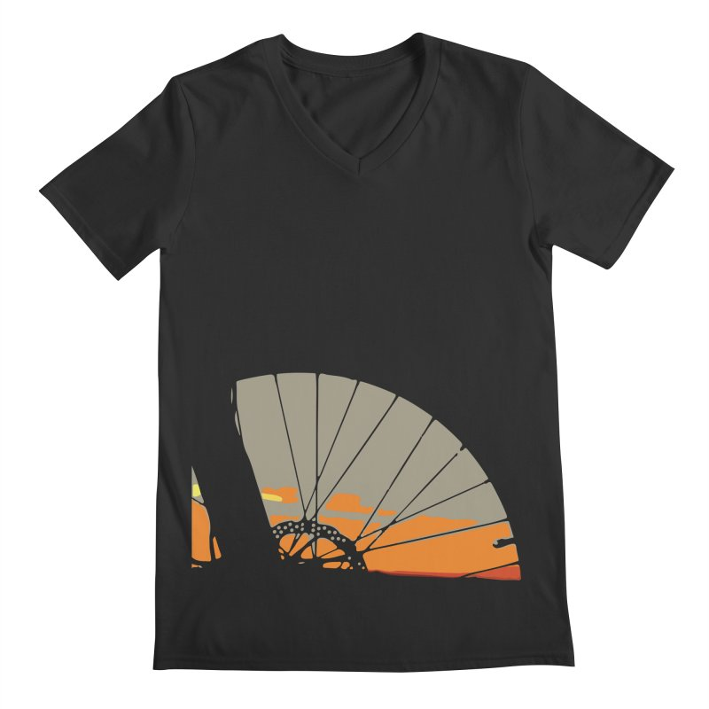 MTB Sunset  Men's V-Neck by CRANK. outdoors + music lifestyle clothing