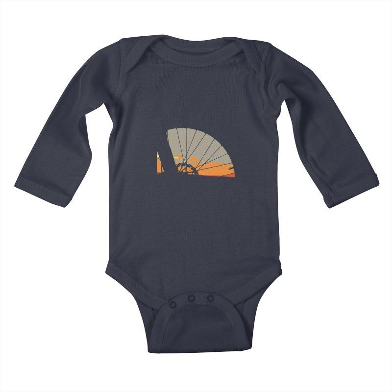 MTB Sunset  Kids Baby Longsleeve Bodysuit by CRANK. outdoors + music lifestyle clothing