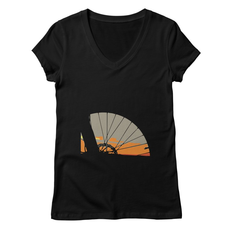 MTB Sunset  Women's V-Neck by CRANK. outdoors + music lifestyle clothing