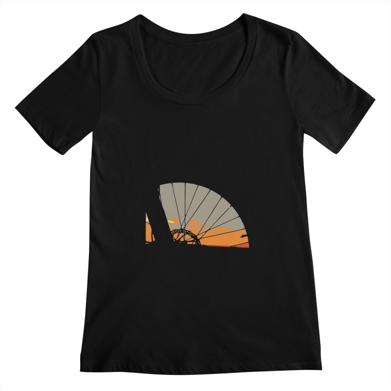 MTB Sunset  Women's Scoopneck by CRANK. outdoors + music lifestyle clothing