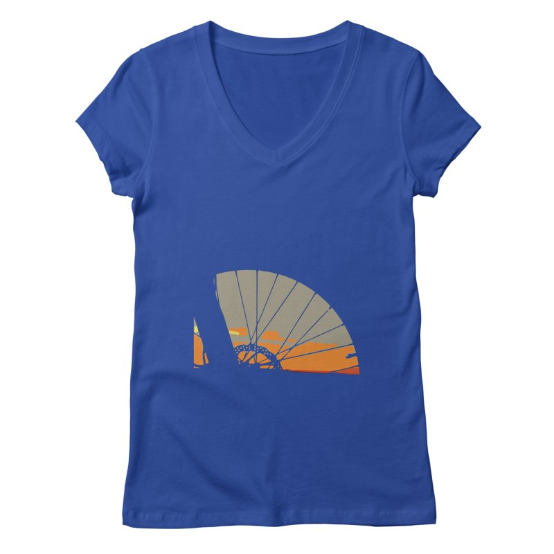 MTB Sunset  Women's V-Neck by CRANK. outdoors + music lifestyle clothing