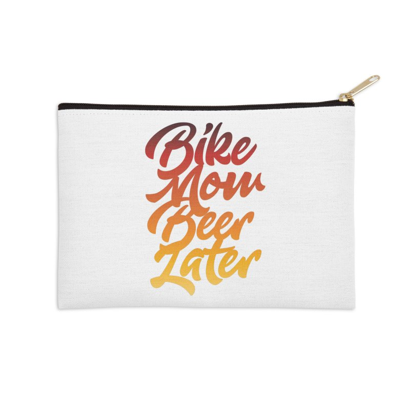 Bike Now Beer Later Accessories Zip Pouch by CRANK. outdoors + music lifestyle clothing