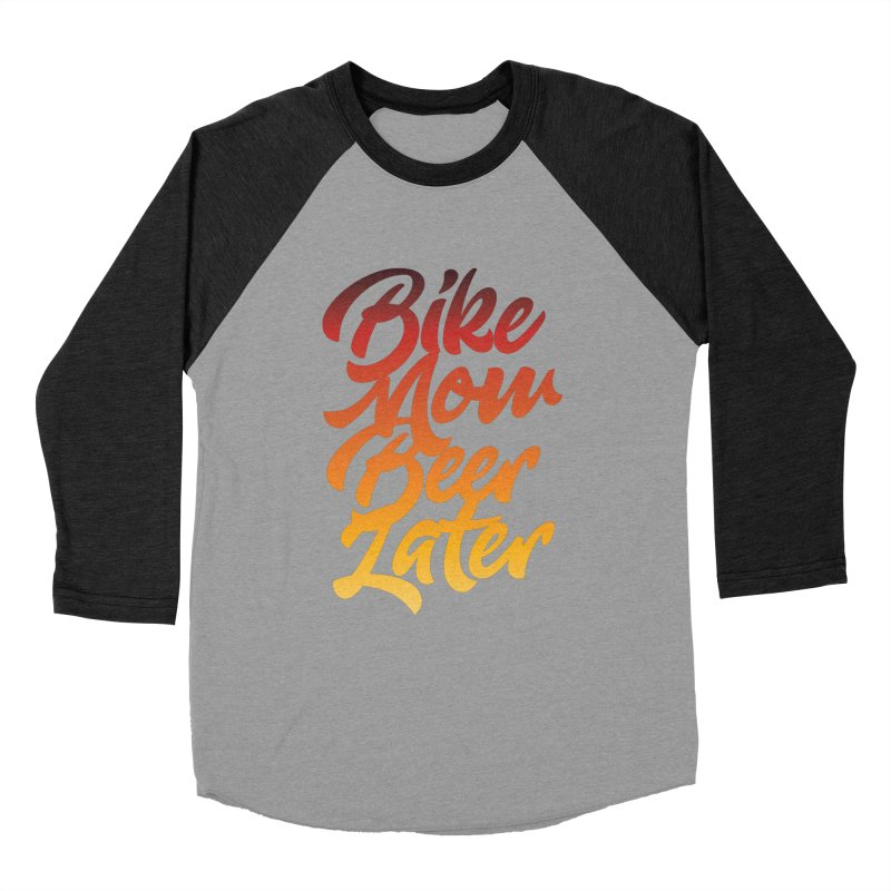 Bike Now Beer Later Men's Baseball Triblend T-Shirt by CRANK. outdoors + music lifestyle clothing