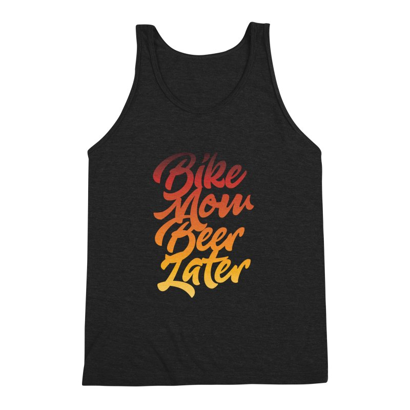 Bike Now Beer Later Men's Triblend Tank by CRANK. outdoors + music lifestyle clothing