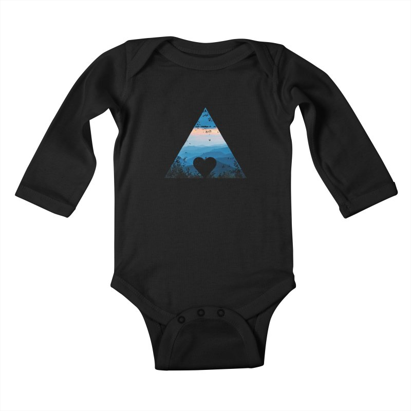Love the Mountains Kids Baby Longsleeve Bodysuit by CRANK. outdoors + music lifestyle clothing