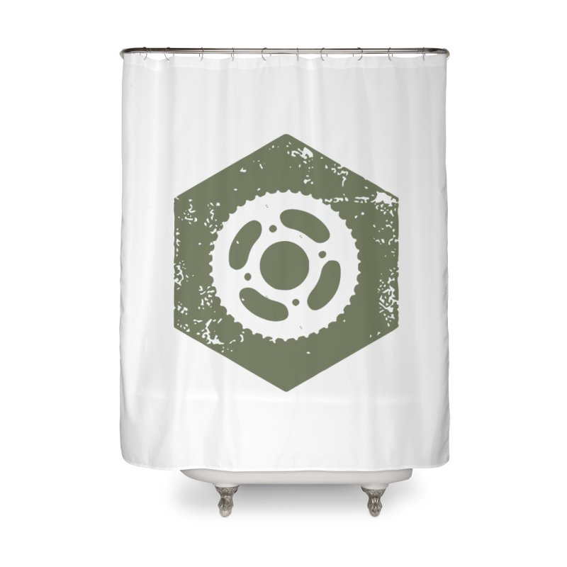 Nuts n' Bolts Home Shower Curtain by CRANK. outdoors + music lifestyle clothing