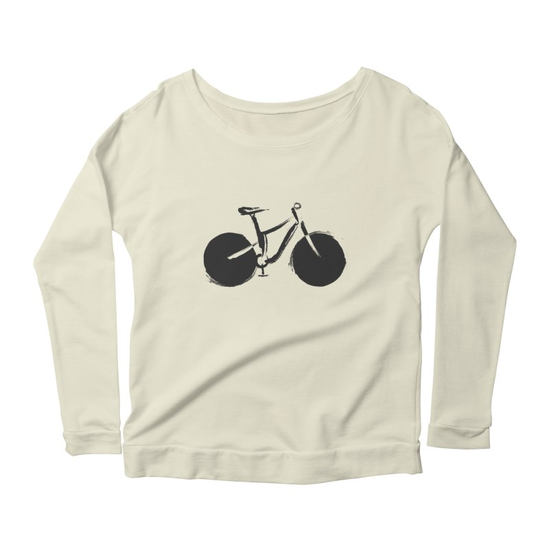 Sumi-e Bike (black) Women's Longsleeve Scoopneck  by CRANK. outdoors + music lifestyle clothing
