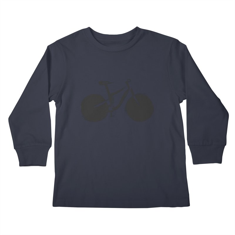 Sumi-e Bike (black) Kids Longsleeve T-Shirt by CRANK. outdoors + music lifestyle clothing