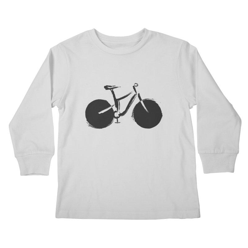 Sumi-e Bike (black) Kids Longsleeve T-Shirt by CRANK. outdoors + music lifestyle clothing