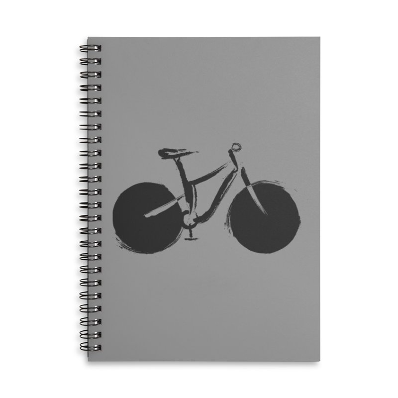 Sumi-e Bike (black) Accessories Lined Spiral Notebook by CRANK. outdoors + music lifestyle clothing