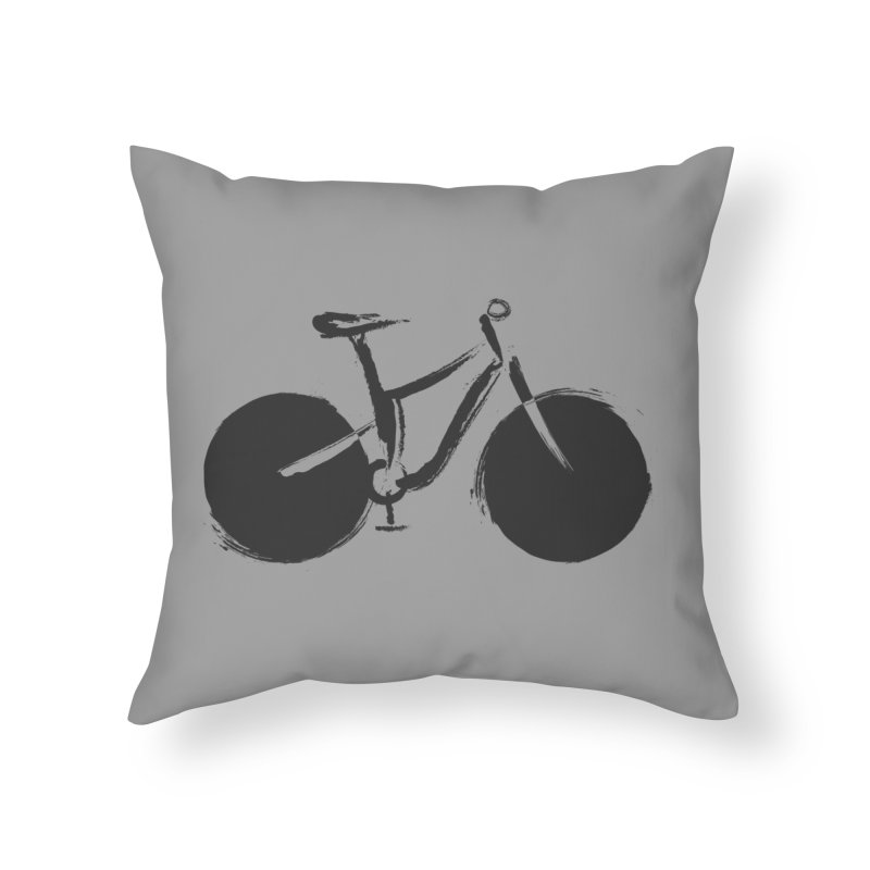 Sumi-e Bike (black) Home Throw Pillow by CRANK. outdoors + music lifestyle clothing