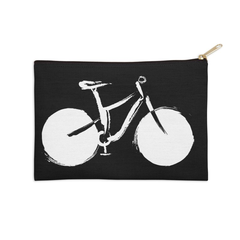 Sumi-e Bike Commute (white) Accessories Zip Pouch by CRANK. outdoors + music lifestyle clothing