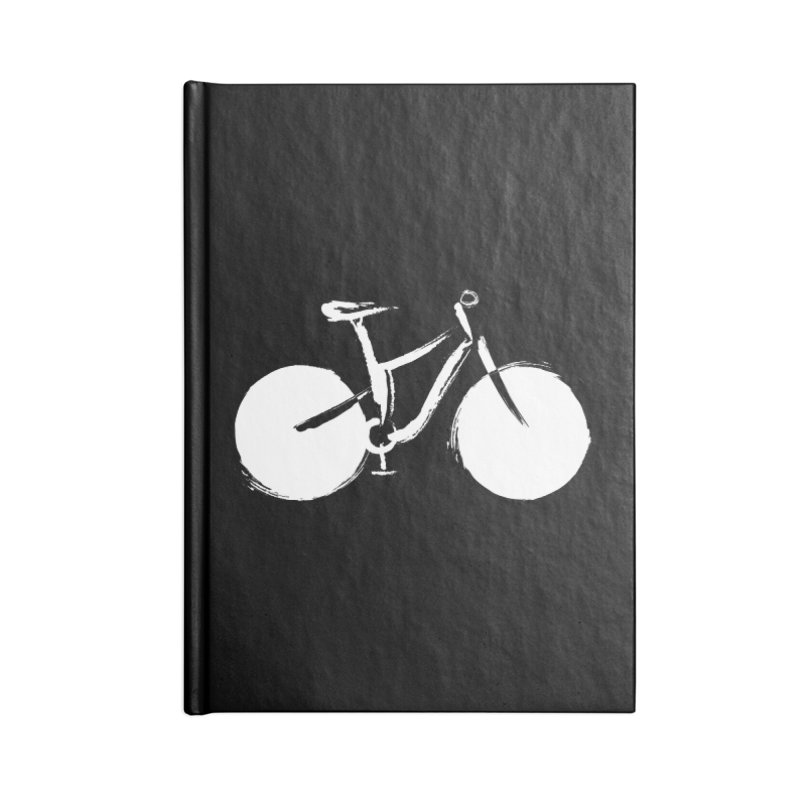 Sumi-e Bike Commute (white) Accessories Lined Journal Notebook by CRANK. outdoors + music lifestyle clothing
