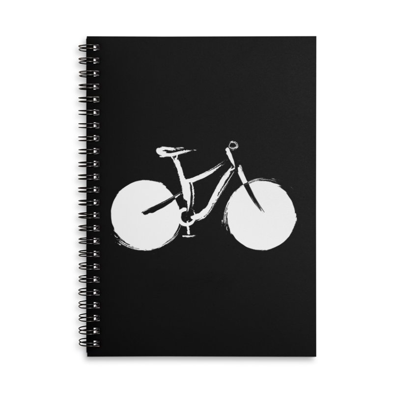 Sumi-e Bike Commute (white) Accessories Lined Spiral Notebook by CRANK. outdoors + music lifestyle clothing
