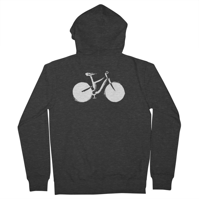 Sumi-e Bike Commute (white) Men's Zip-Up Hoody by CRANK. outdoors + music lifestyle clothing