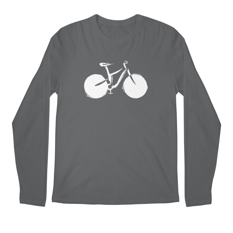 Sumi-e Bike Commute (white) Men's Longsleeve T-Shirt by CRANK. outdoors + music lifestyle clothing
