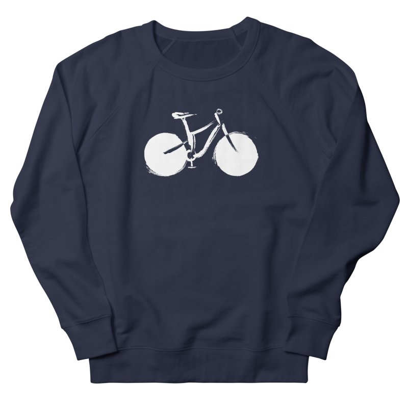 Sumi-e Bike Commute (white) Men's French Terry Sweatshirt by CRANK. outdoors + music lifestyle clothing