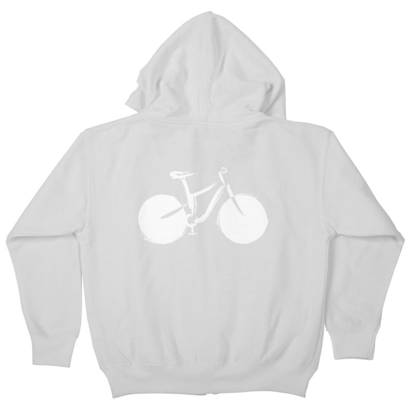 Sumi-e Bike Commute (white) Kids Zip-Up Hoody by CRANK. outdoors + music lifestyle clothing