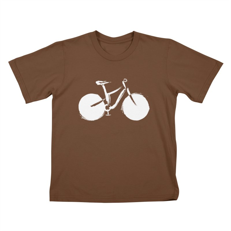 Sumi-e Bike Commute (white) Kids T-Shirt by CRANK. outdoors + music lifestyle clothing