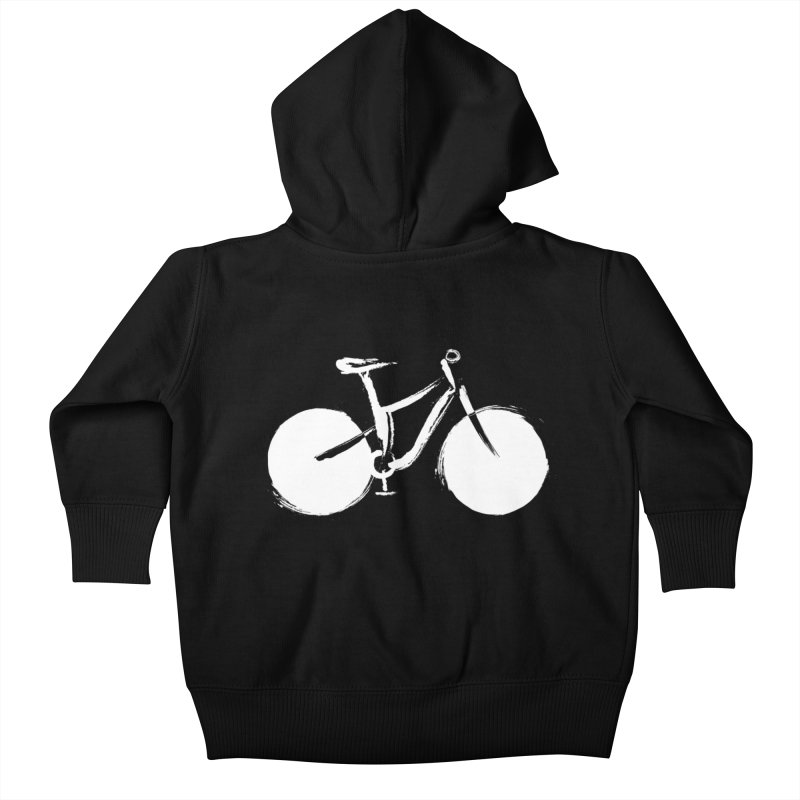 Sumi-e Bike Commute (white) Kids Baby Zip-Up Hoody by CRANK. outdoors + music lifestyle clothing
