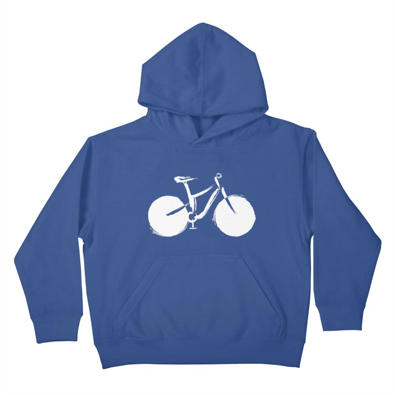 Sumi-e Bike Commute (white) Kids Pullover Hoody by CRANK. outdoors + music lifestyle clothing