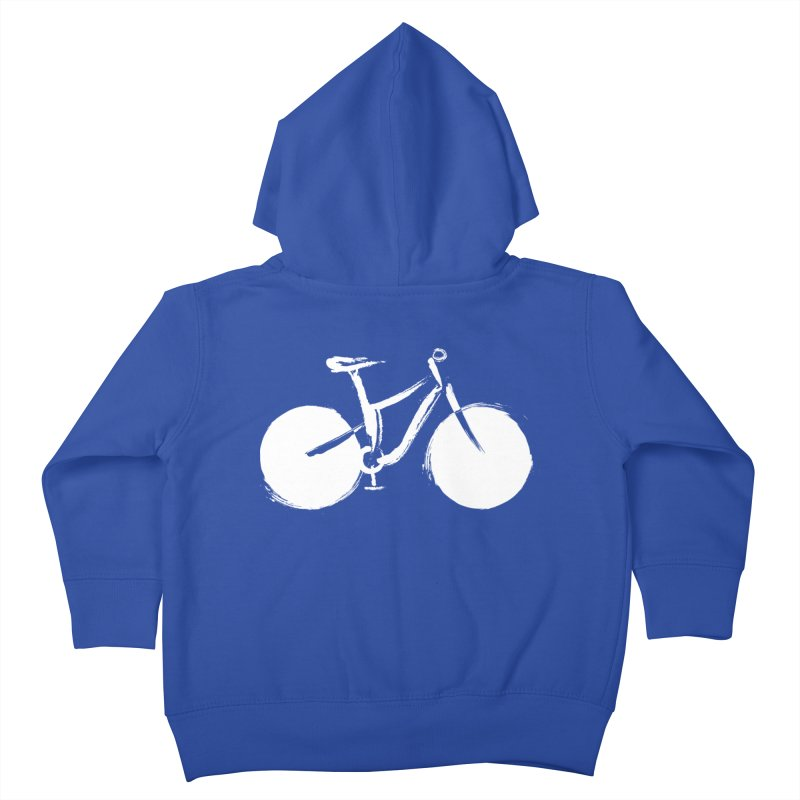 Sumi-e Bike Commute (white) Kids Toddler Zip-Up Hoody by CRANK. outdoors + music lifestyle clothing