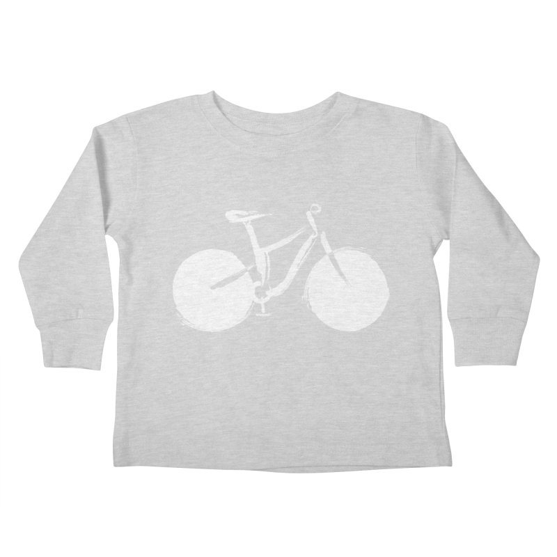 Sumi-e Bike Commute (white) Kids Toddler Longsleeve T-Shirt by CRANK. outdoors + music lifestyle clothing