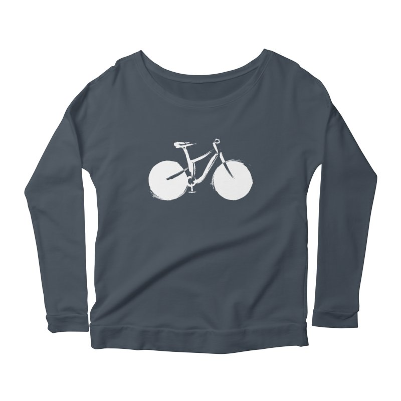 Sumi-e Bike Commute (white) Women's Longsleeve Scoopneck  by CRANK. outdoors + music lifestyle clothing