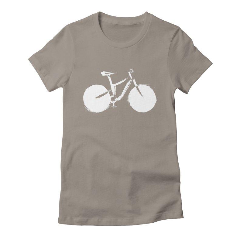Sumi-e Bike Commute (white) Women's T-Shirt by CRANK. outdoors + music lifestyle clothing