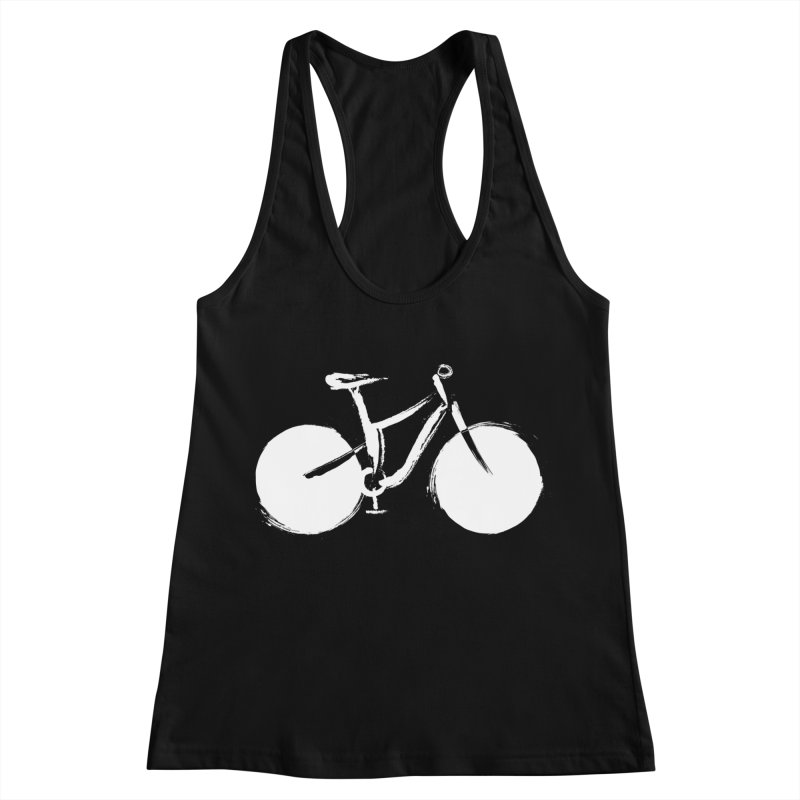 Sumi-e Bike Commute (white) Women's Racerback Tank by CRANK. outdoors + music lifestyle clothing