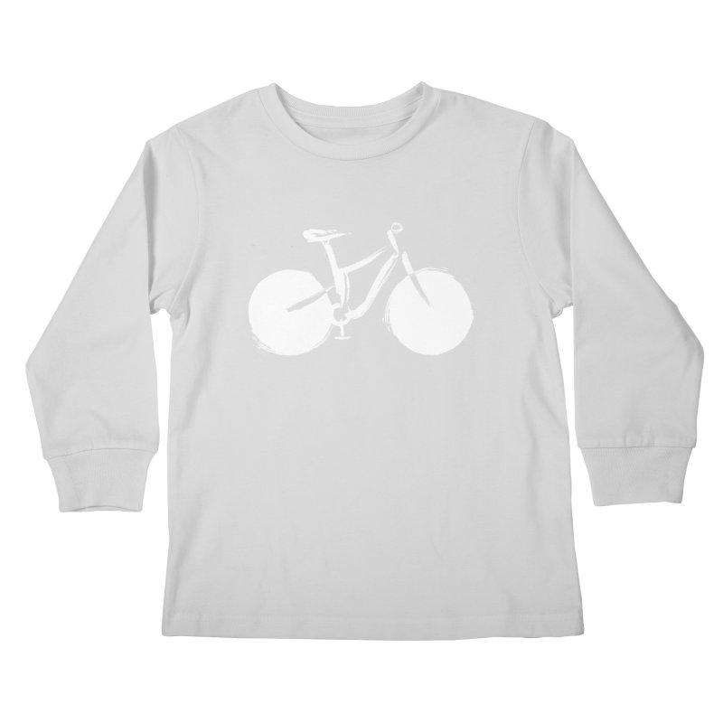 Sumi-e Bike Commute (white) Kids Longsleeve T-Shirt by CRANK. outdoors + music lifestyle clothing