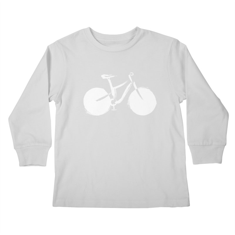 Sumi-e Bike Commute (white) Kids Longsleeve T-Shirt by CRANK. outdoors + music lifestyle clothing