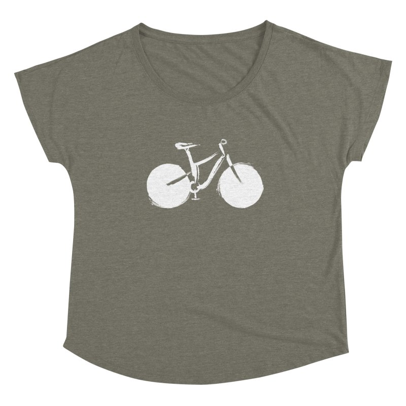 Sumi-e Bike Commute (white) Women's Scoop Neck by CRANK. outdoors + music lifestyle clothing