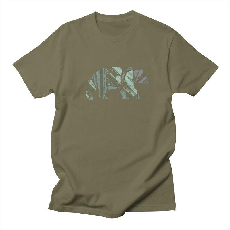 Woody, The Wood Grain Bear (green) Women's Regular Unisex T-Shirt by CRANK. outdoors + music lifestyle clothing