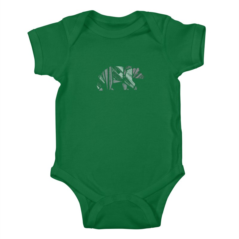 Woody, The Wood Grain Bear (green) Kids Baby Bodysuit by CRANK. outdoors + music lifestyle clothing