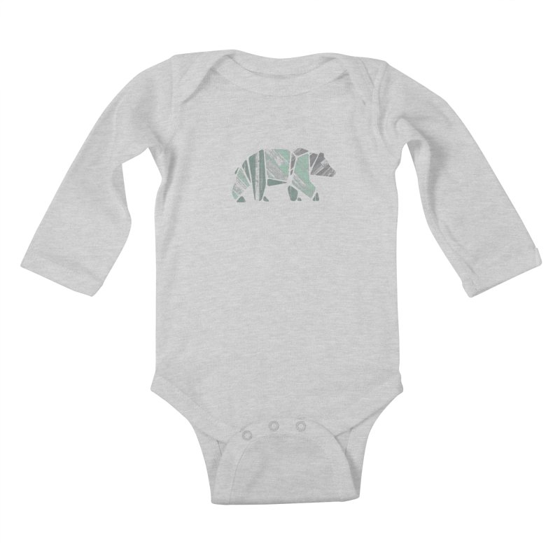 Woody, The Wood Grain Bear (green) Kids Baby Longsleeve Bodysuit by CRANK. outdoors + music lifestyle clothing