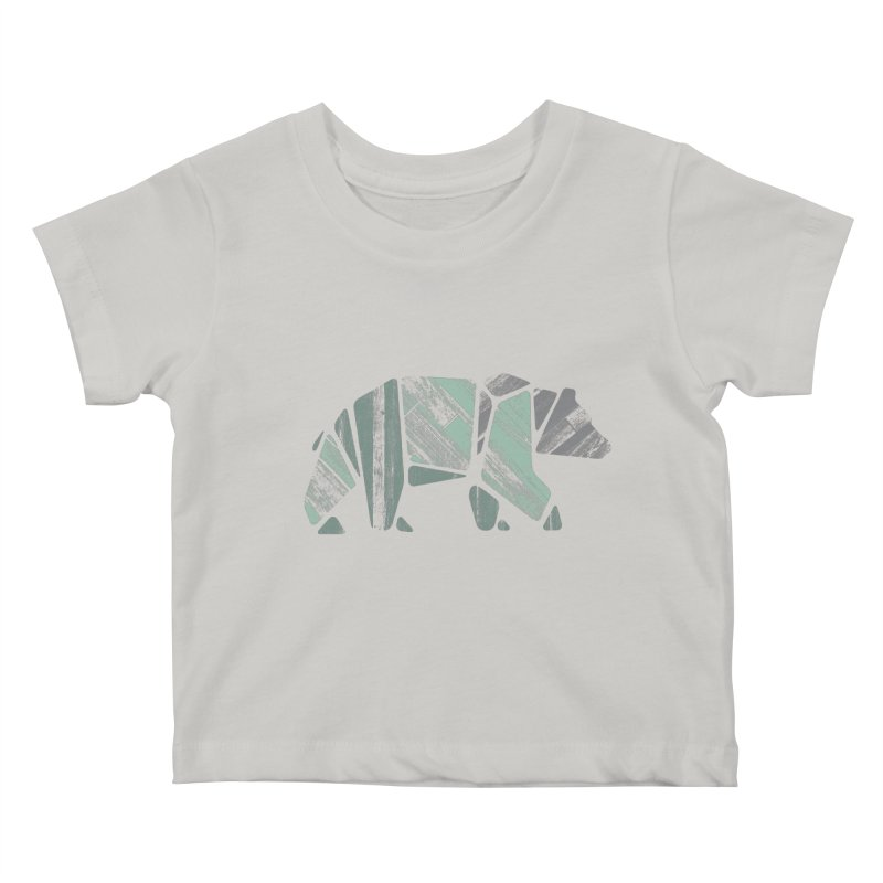 Woody, The Wood Grain Bear (green) Kids Baby T-Shirt by CRANK. outdoors + music lifestyle clothing