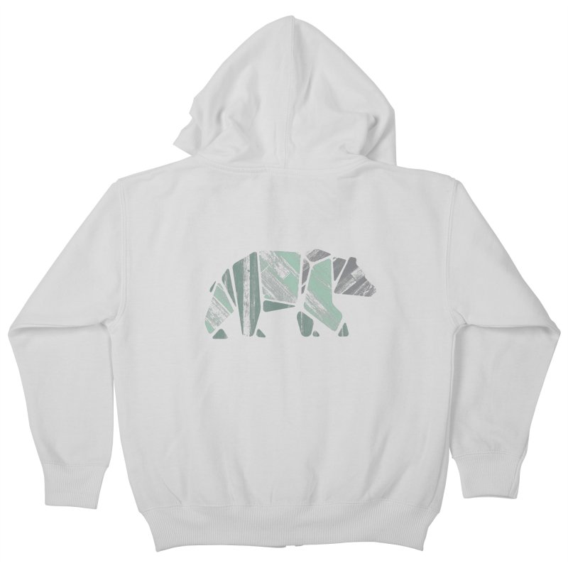 Woody, The Wood Grain Bear (green) Kids Zip-Up Hoody by CRANK. outdoors + music lifestyle clothing