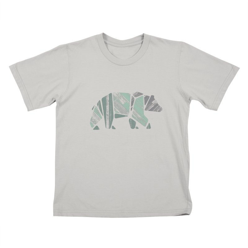 Woody, The Wood Grain Bear (green) Kids T-shirt by CRANK. outdoors + music lifestyle clothing