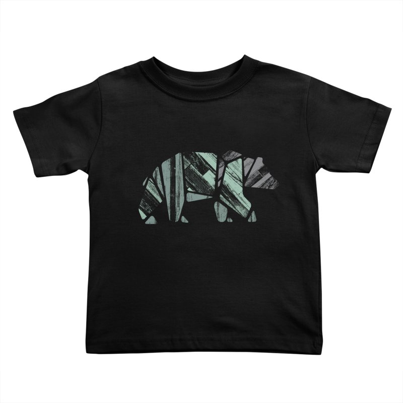 Woody, The Wood Grain Bear (green) Kids Toddler T-Shirt by CRANK. outdoors + music lifestyle clothing