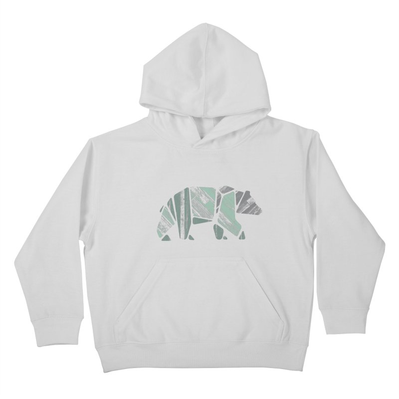 Woody, The Wood Grain Bear (green) Kids Pullover Hoody by CRANK. outdoors + music lifestyle clothing
