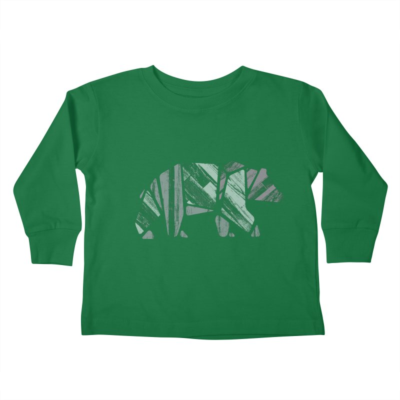 Woody, The Wood Grain Bear (green) Kids Toddler Longsleeve T-Shirt by CRANK. outdoors + music lifestyle clothing