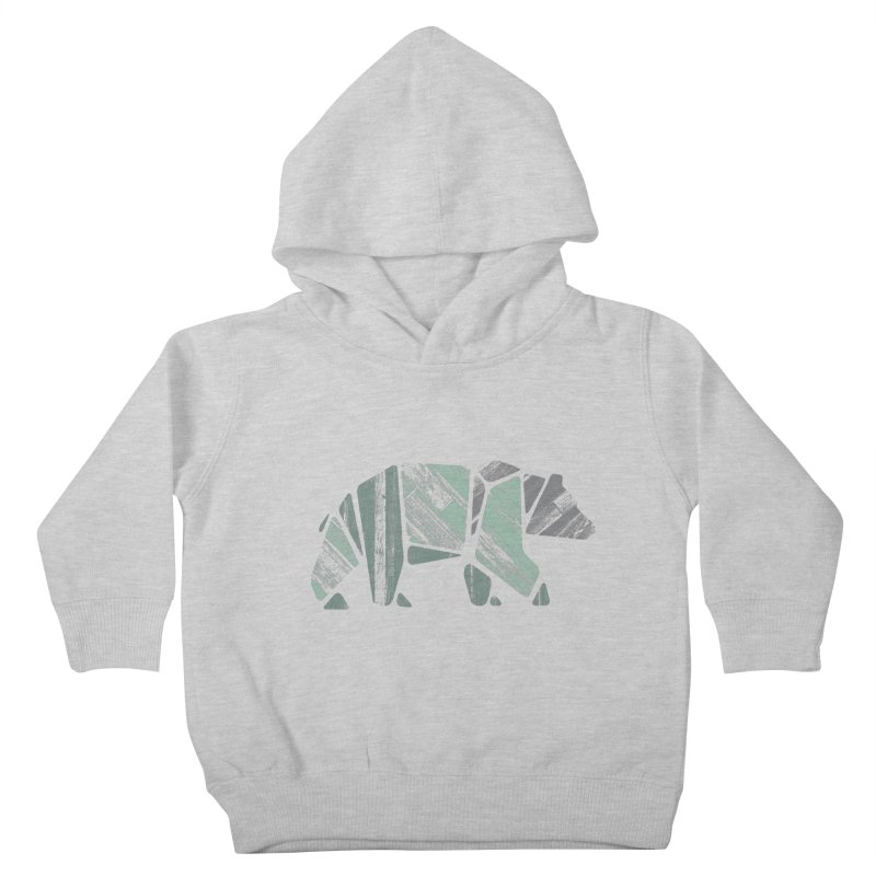Woody, The Wood Grain Bear (green) Kids Toddler Pullover Hoody by CRANK. outdoors + music lifestyle clothing